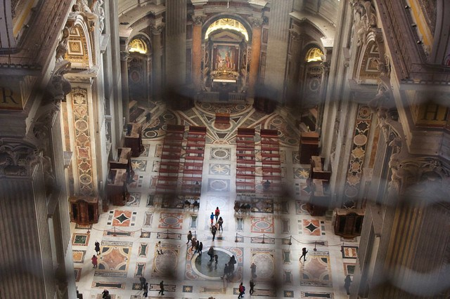 View from the Dome of St Peter's Basilica looking inside