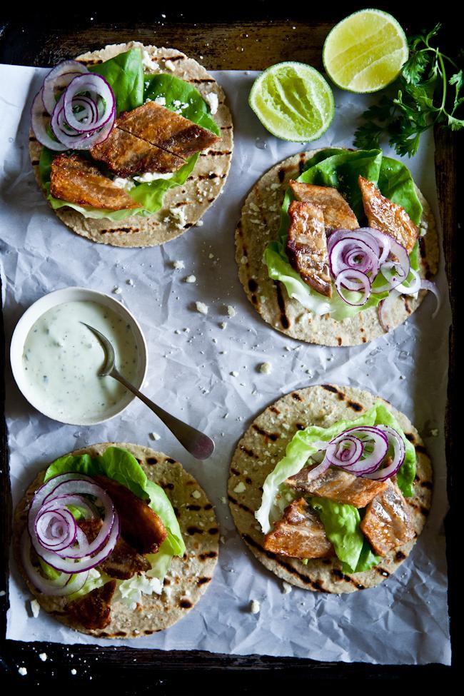Tacos de panceta de cerdo con crema de aguacate y cilantro