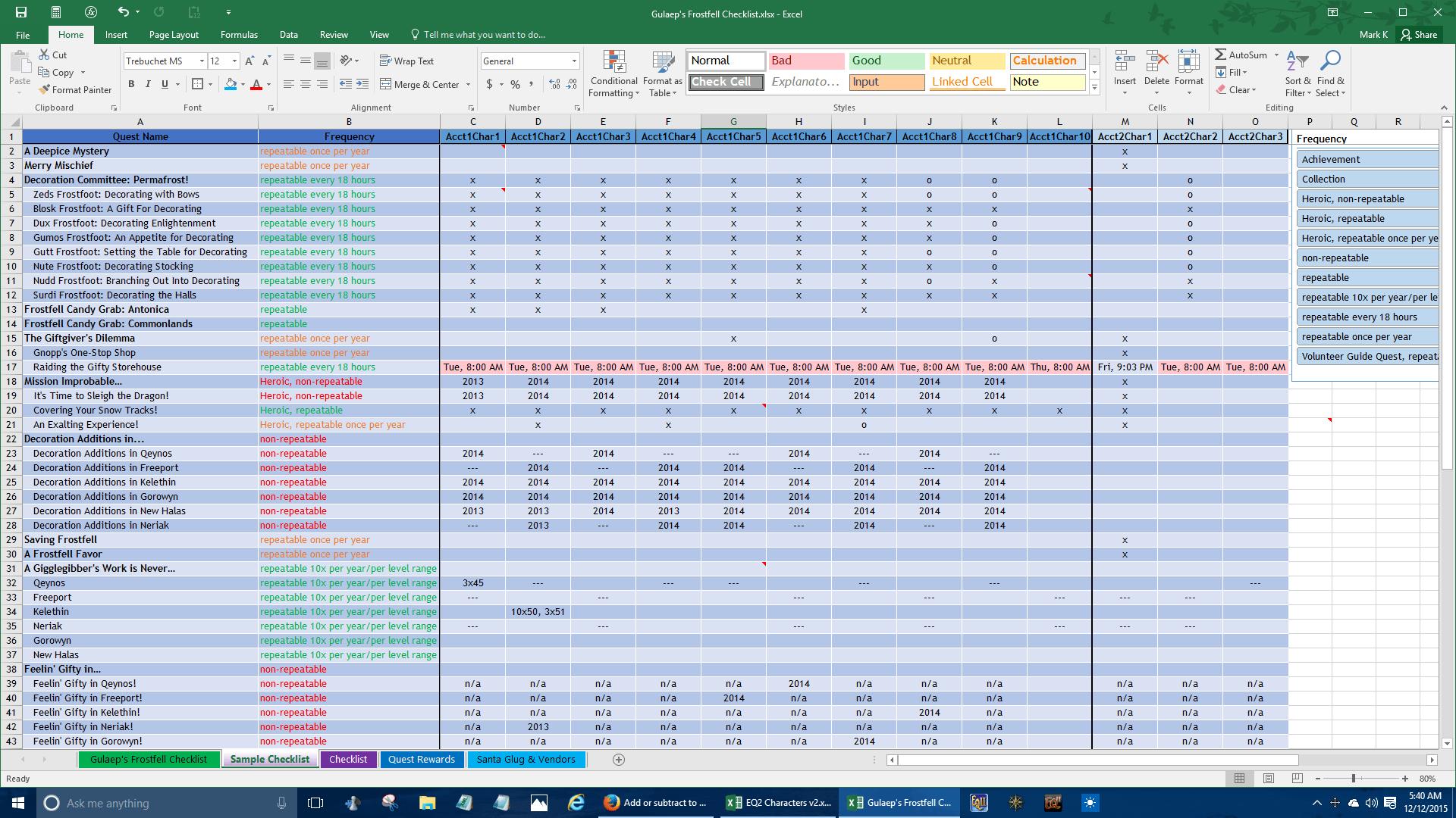 Gulaep S Frostfell Checklist Excel Spreadsheet