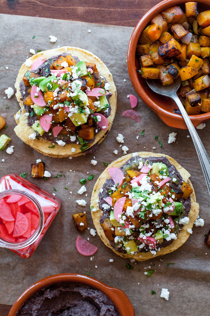 Quick butternut squash tostadas with speedy black bean spread!