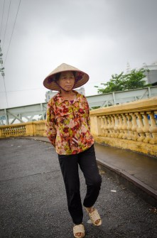 Woman on Long Bien Bridge