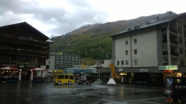 Morning in Zermatt outside Bahnhaus