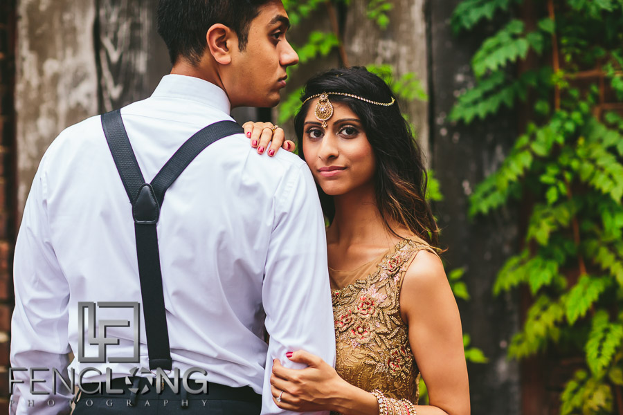 Radhika & Kishan Engagement | Goat Farm Atlanta | Atlanta Indian Engagement Session