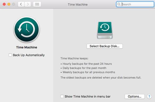 เปิดใช้ Time Machine บนเครื่อง Mac