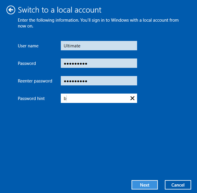 switch windows login from microsoft account to local account