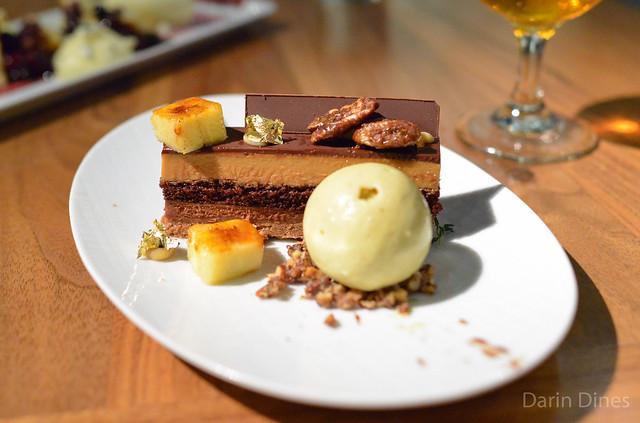 Chocolate Caramel Bar bourbon chocolate, smoked pecans, bananas foster ice cream