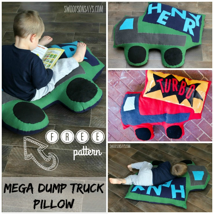 Free mega dump truck pillow sewing pattern! Grab some cheap fleece and sew up a comfy spot for kids to curl up and read. Perfect gift to sew for boys and girls, and to use up all your fabric scraps as stuffing! Swoodsonsays.com