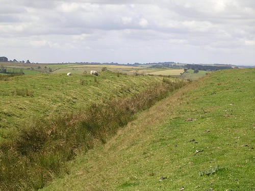 The ditch with the wall mound to the left of it near Milecastle 46