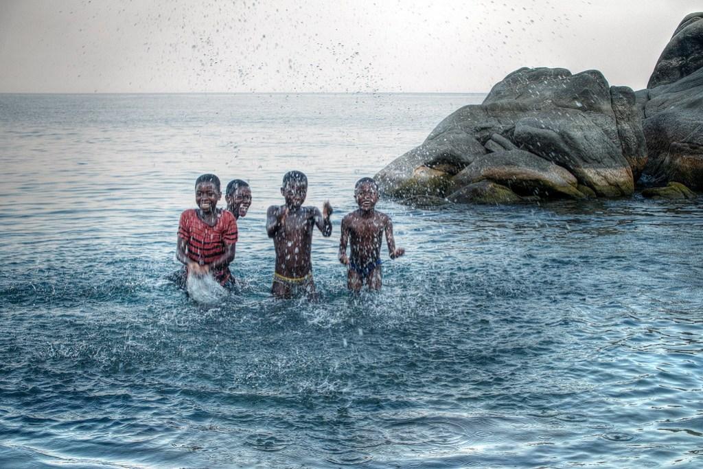 Kids playing in Lake Malawi