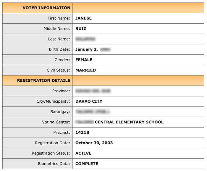 How to verify voters status online step 7