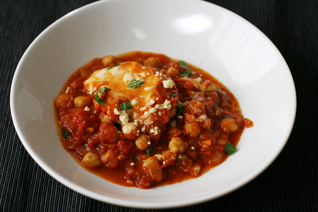 Poached Eggs in Tomato Sauce with Chickpeas and Feta (Shakshuka)