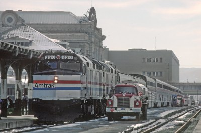 AMTK F40PHR 320 with the San Francisco Zephyr in Denver, CO in December 1980