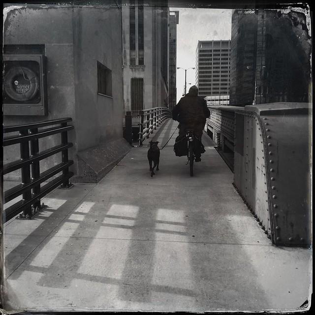Biker and dog, Van Buren Bridge