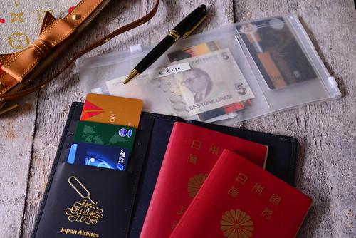 機内に持ち込むパスポートとボールペンその他