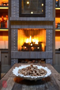 Walnuts by the fireplace.
