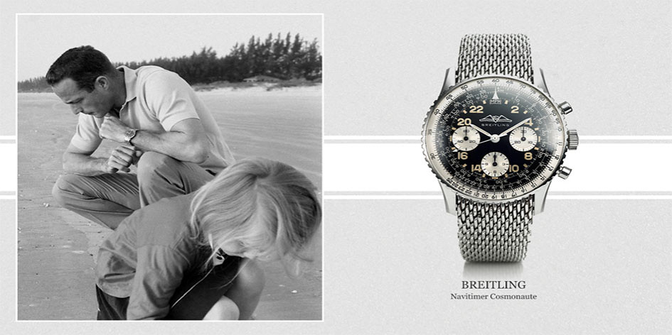Scott Carpenter con reloj Breitling