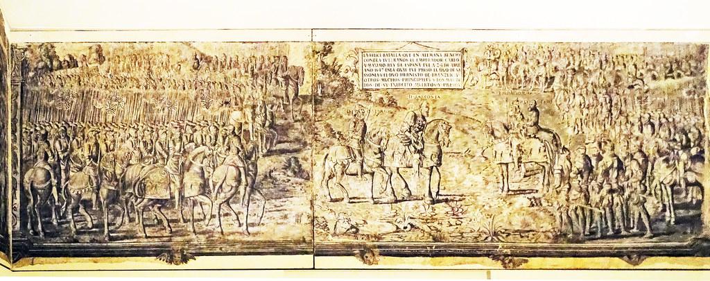 Pintura mural grisalla Batalla de Mulberg en Palacio de Oriz, 1550 Museo de Navarra Pamplona 01