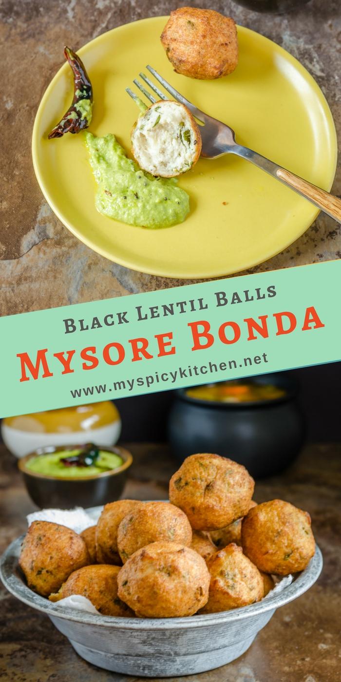 Mysore bonda are crispy, spongy, deep fried snack with split black lentils or urad dal.  A plate of Mysore bonda with coconut chutney and a bowl full of Mysore bonds.