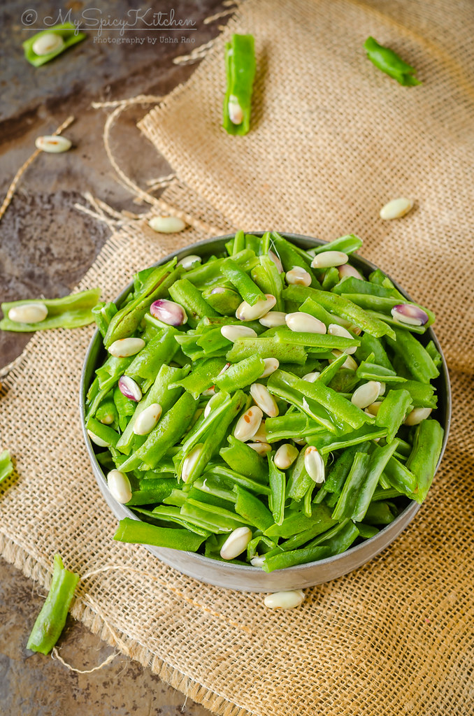 Chikkudukaya or Indian broad beans  trimmed, cut into small pieces and ready to cook
