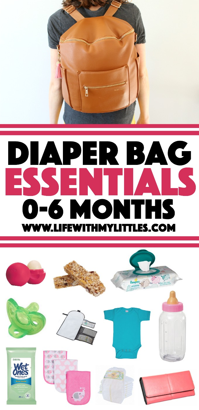 Diaper bag essentials for the first six months. What to put in your diaper bag for babies 0-6 months old!