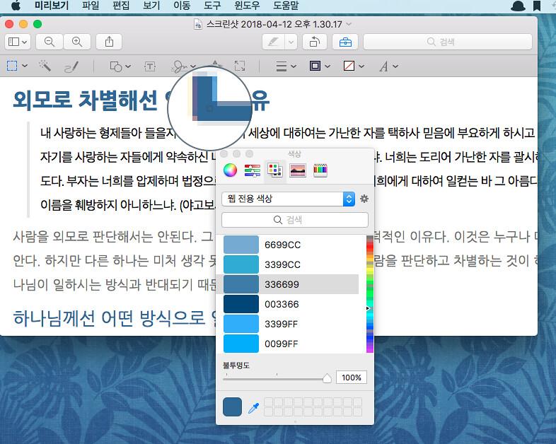 다른 웹 페이지에서 사용한 색깔을 알아내자 - 맥 미리보기