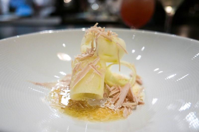 Langoustine, Foie Gras, Apple, Walnut Cream