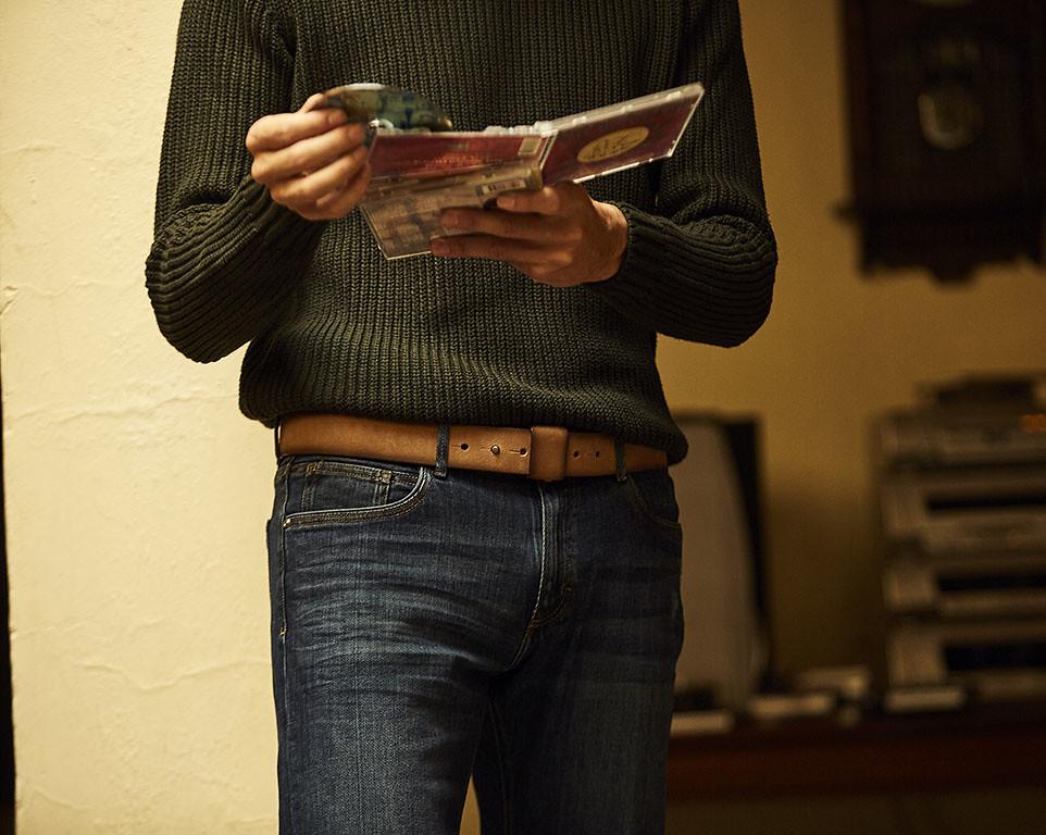Cinturón casual de hombre de blue hole men en piel de curtición vegetal