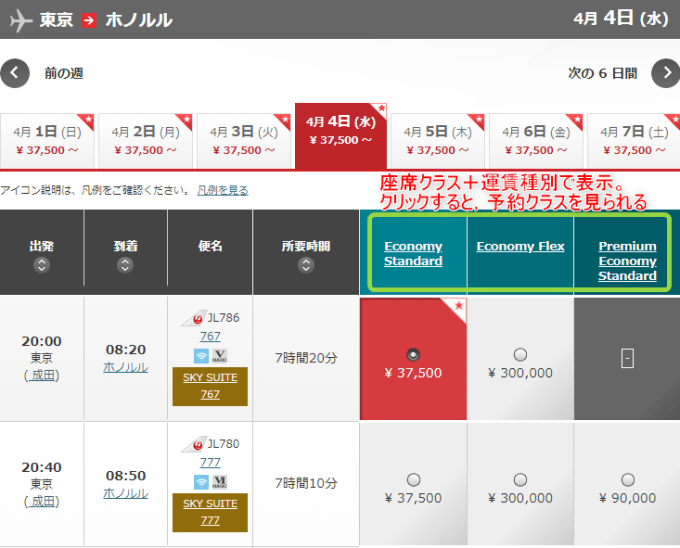 180325 JAL予約画面の見方1
