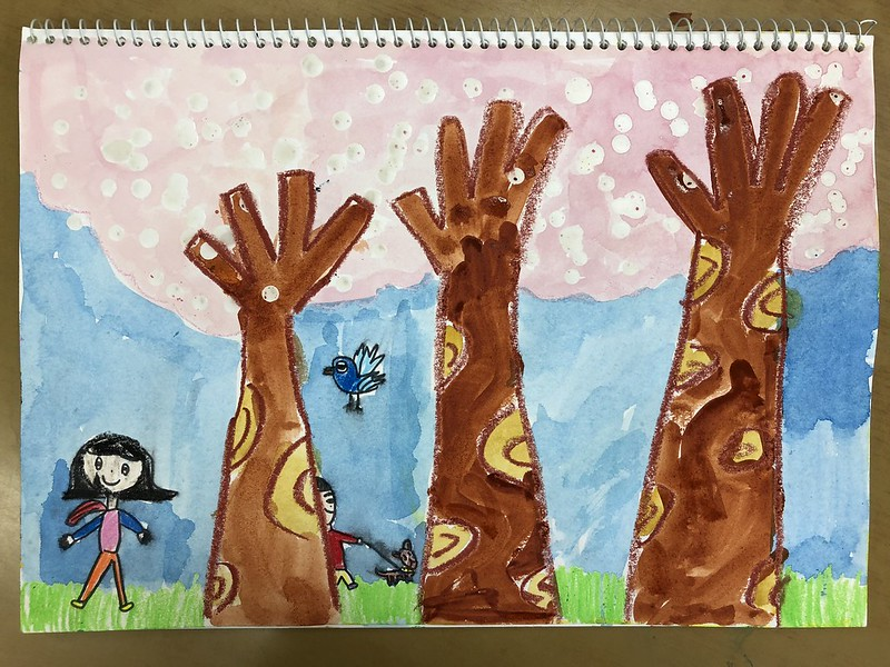 스케치북에 하는 벚꽃놀이 - 촛농으로 벚꽃 그리기