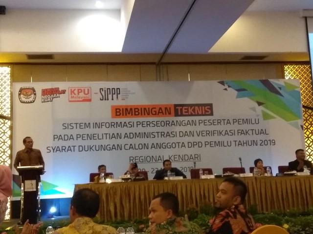 Bimbingan Teknis (Bimtek) Sistem Informasi Perseorangan Peserta Pemilu (SIPPP) hari terakhir di Hotel Grand Clarion Kendari, Sulawesi Tenggara (22/3)