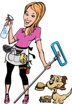 Cleaning girl and dog