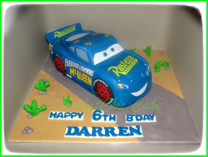 cake blue disney cars mcqueen  darren  coklatchic cake
