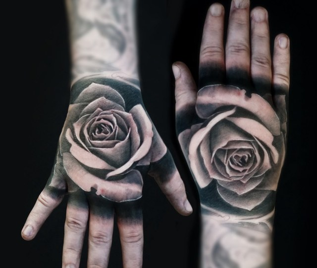 Black And Grey Tattoo Realistic Rose On The Hand