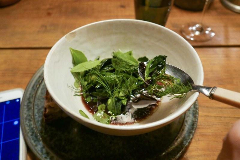 Mushroom broth, spinach, greens,  dill, mint, blueberry