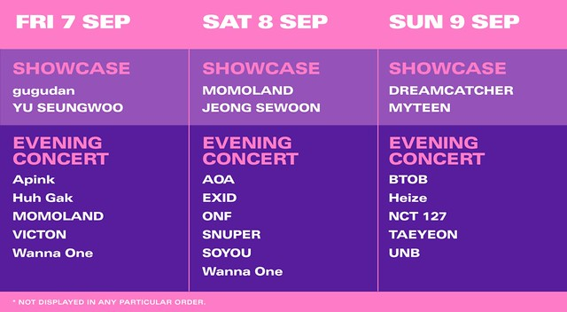 HallyuPopFest 2018 - Showcase and Concert Performance Schedule