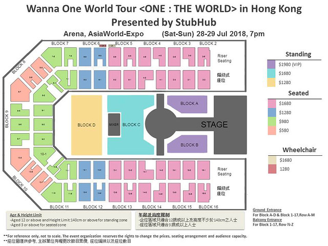 Wanna One World Tour <ONE : THE WORLD> in Hong Kong Presented by StubHub - Seating Plan