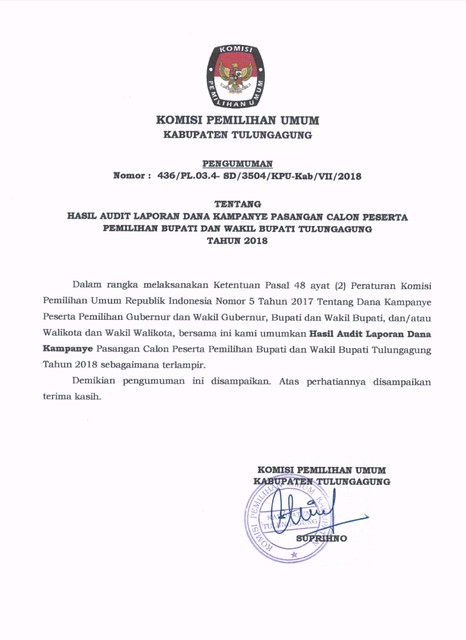 PENGUMUMAN : HASIL AUDIT LAPORAN DANA KAMPANYE PASANGAN CALON 1 DAN PASANGAN CALON 2 DALAM PILKADA TULUNGAGUNG TAHUN 2018