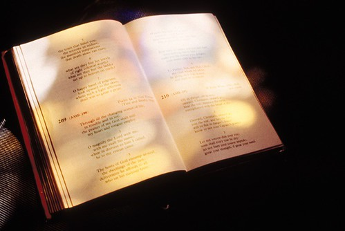 bible with stained glass reflection by melanerpist