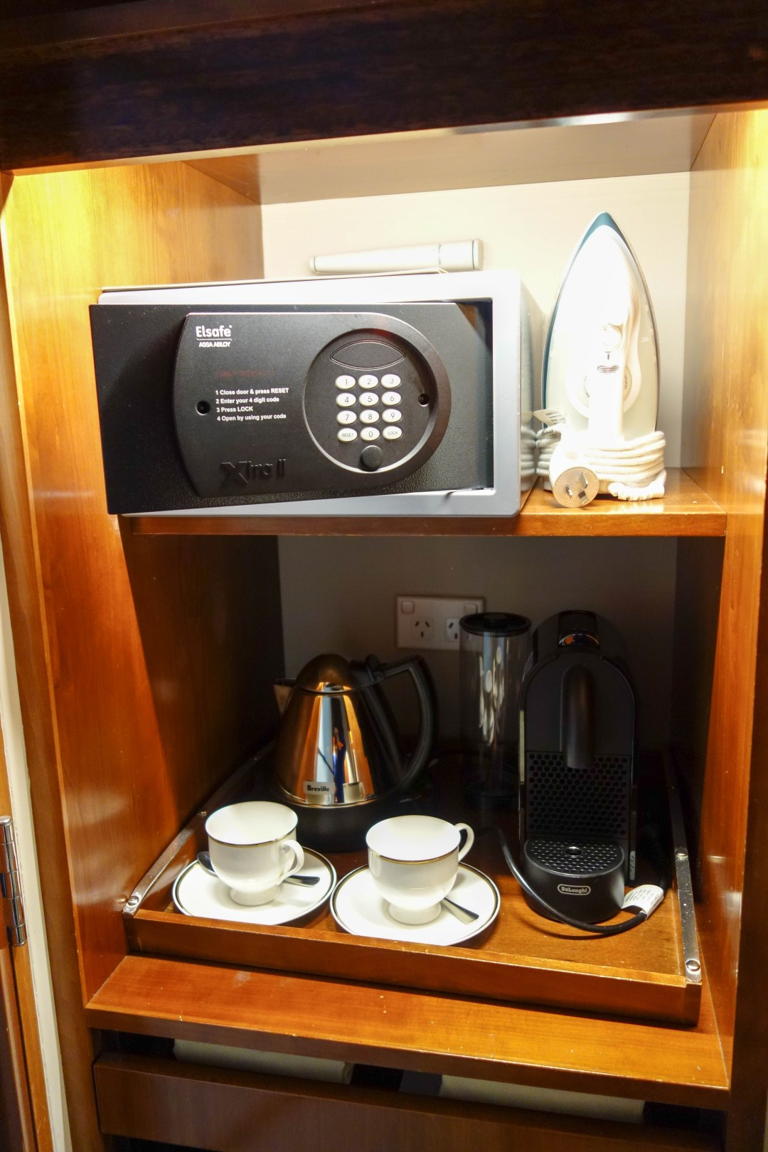 Kettle, Nespresso coffee machine, safe and iron