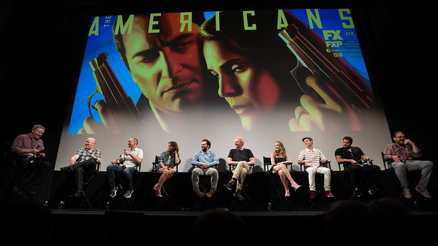 Moderator Tim Goodman, Joe Weisberg, Joel Fields, Keri Russell, Matthew Rhys, Noah Emmerich, Holly Taylor, Keidrich Sellati, Brandon J. Dirden and Chris Long
