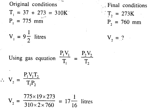 New Simplified Chemistry Class 9 ICSE Solutions - Study of The First Element - Study of Gas Laws 10