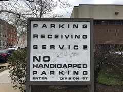 Modern parking sign, Total Health Care, Inc./Larry Young Division Health Center, 1501 Division Street, Baltimore, MD 21217