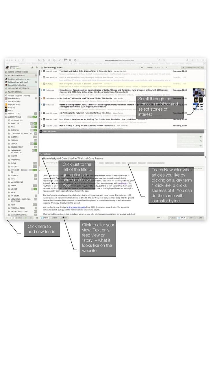 Newsblur home page