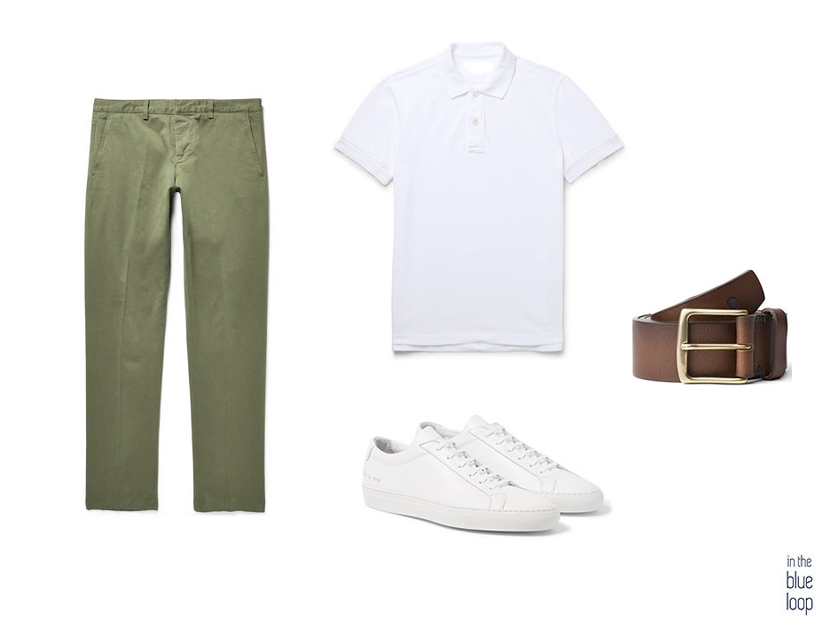 Look casual con chinos, polo blanco masculino, sneakers blancas y cinturón de cuero marrón Garoé de blue hole men