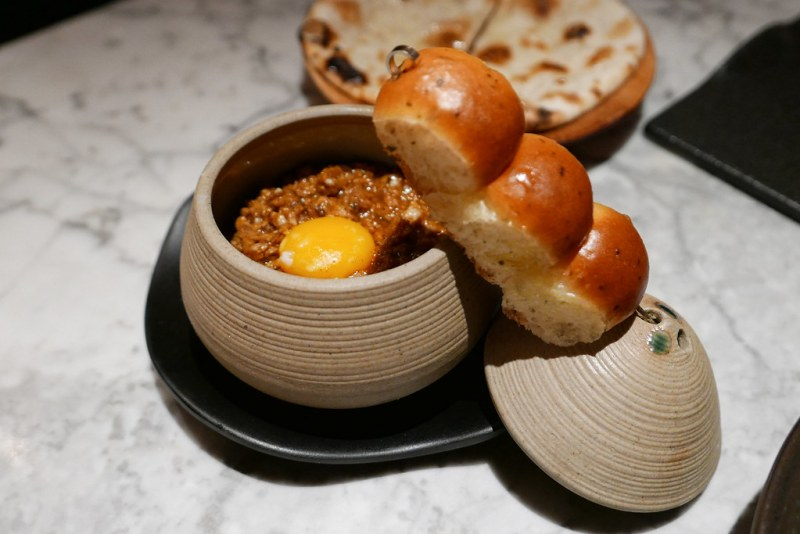 Keema is an Indian stew made of meat, veggies or soy. Stuffing it into a bun makes a tasty snack. Soy Keema, Quail Egg, Lime Leaf Butter Pao $12