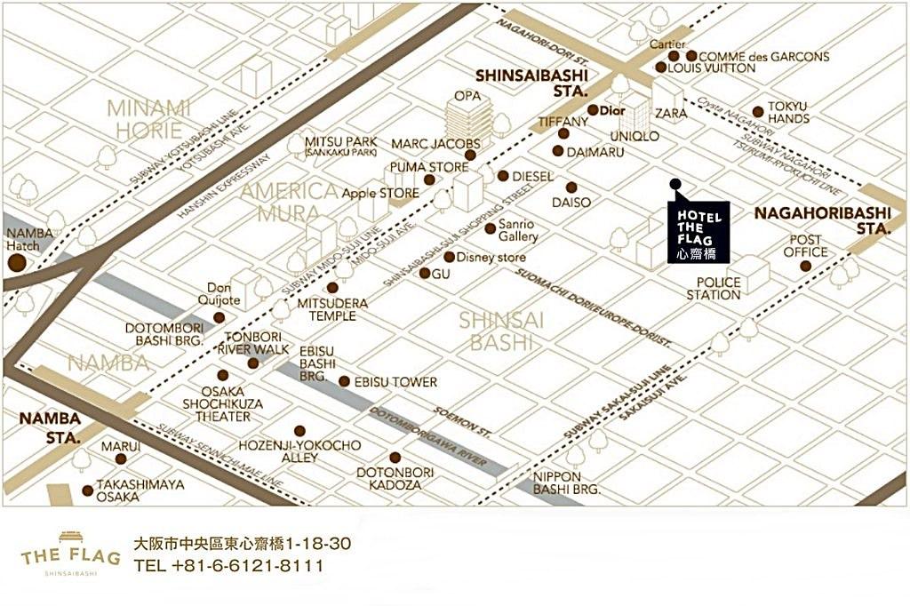 Hotel The Flag Shinsaibashi Map 2