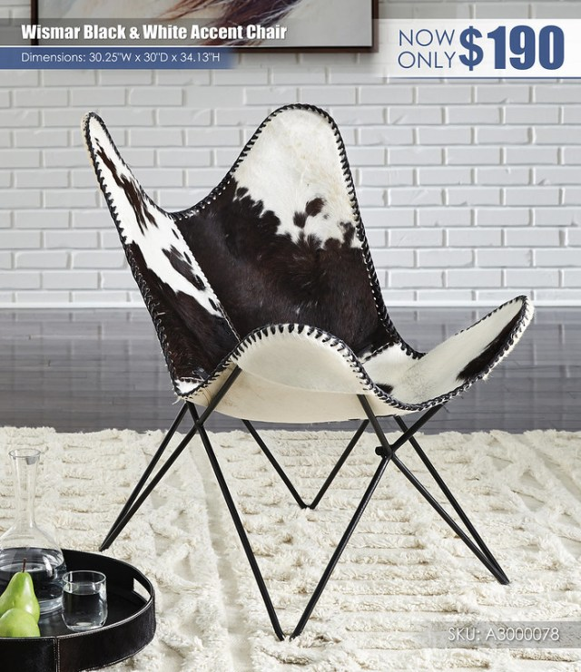 Wismar Black & WHite Accent Chair_A3000078