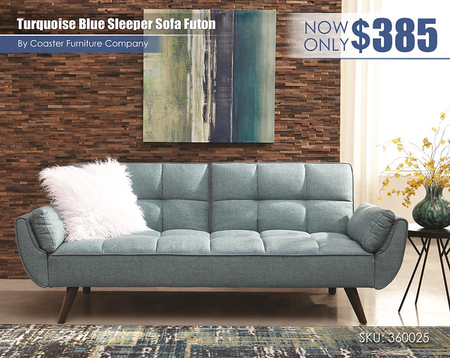 Turquoise Blue Sleeper Sofa Futon_360025