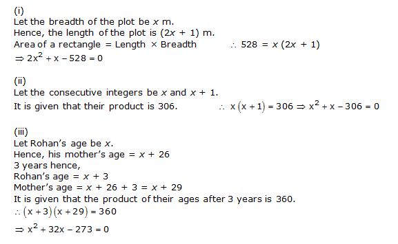 NCERT Solutions for Class 10 Maths Chapter 4 Quadratic Equations 3