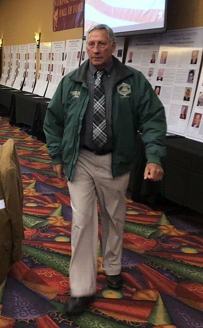 Committee Member Mike Niemcyk in the Green Jacket Parade of NWHOF Lifetime Service Winners.